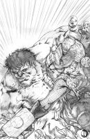 Thor Vs Red Hulk by santiagocomics