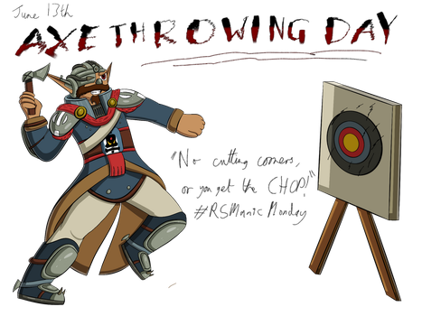 Manic Baron Doodle: Axe Throwing Day by freqrexy