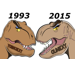 Rexy through the years by Spinosaurusking875