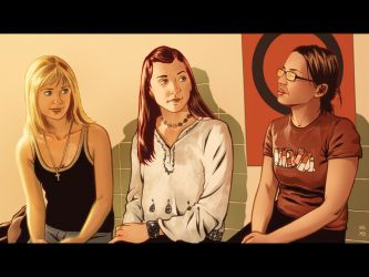 Buffy, Willow and Hilde by KristofSpaey