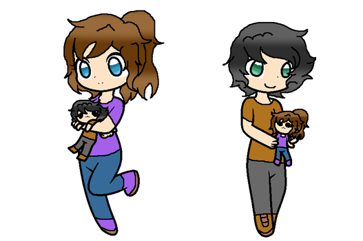 Chelsea w/ Cole plush and Cole w/ Chelsea plush by MintyMagic74