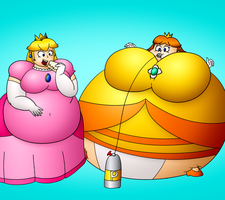Stuff and puff Peach and Daisy colored by masterd987