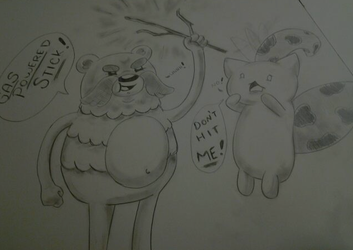 Impossibear and Catbug by Littleblue22