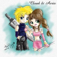 Cloud and Aeris by kurosu
