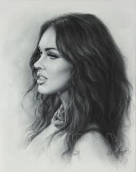 Portrait drawing Megan Fox by Dry Brush by Drawing-Portraits