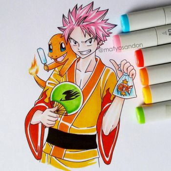 Natsu and Charmander  by matyosandon