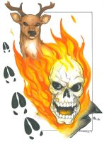 Ghost Rider and Deer by DKHindelang