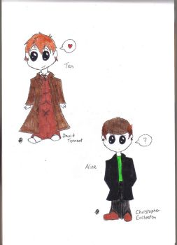 Tenth and Nineth Doctor Chibis by Rickywilson