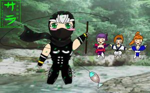 Chibi Hayabusa fishing by Manwe-Varda