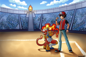 Infernape and Ash Commission