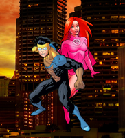 Invincible and Atom Eve by WOLFBLADE111