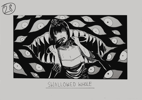 Day 28 - Swallowed whole by Inui-Purrl