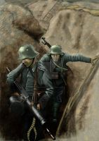German Stormtroopers move up a trench by timcatherall