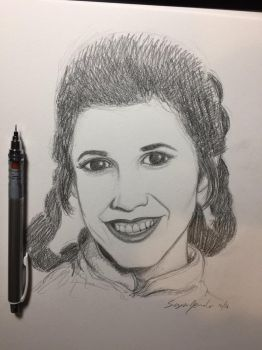 Carrie Fisher by amonkeyonacid