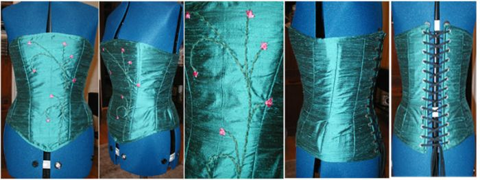 Ribbon Embroidery On Corset by chasingrainbows