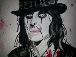 Alice Cooper Watercolor (finished) by Tiffani67