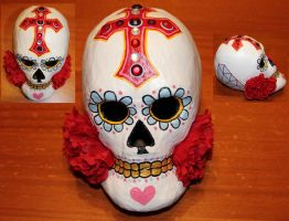Paper Mache Dia De Los Muertos skull 1 SOLD by angelacapel