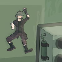 [Commission] Noctis vs the Steampress by The2DSilverHedgehog