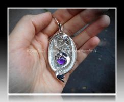 'Dragon nest' sterling silver pendant (for sale) by seralune