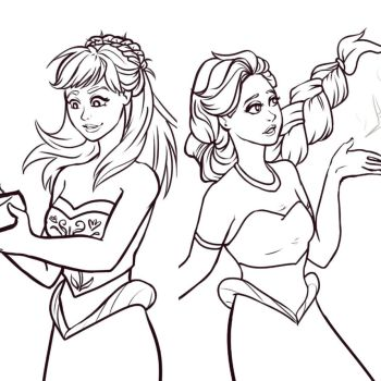 Anna and Elsa Mermaids - Uncoloured by painty-teacup
