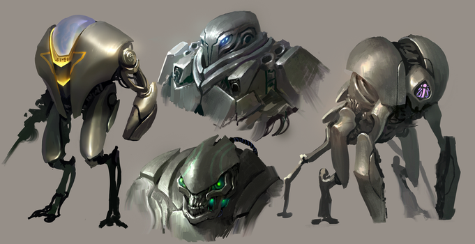 Robot designs by MikeAzevedo
