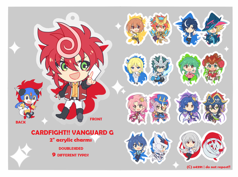 Cardfight!! Vanguard G acrylic charms by n4391