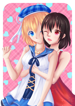 C: Rika and Ellebits by Azuremia
