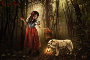 Red riding hood and a not bad wolf by Megan-Arts