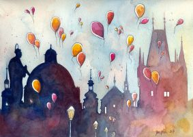 Balloons at Charles Bridge, Prague by jane-beata