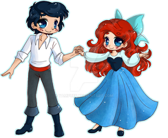 Ariel and Eric ::Chibi Commission:: by YamPuff