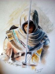 Bayek - Watercolors and ballpointpen by Musiriam