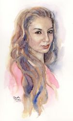Christina, watercolour portrait by MaddySwan