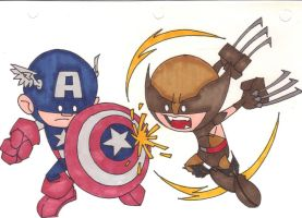 CAPTAIN AMERICA VS. WOLVERINE by hclix
