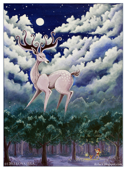 Night's Melody painting and a poem by Ilona-S