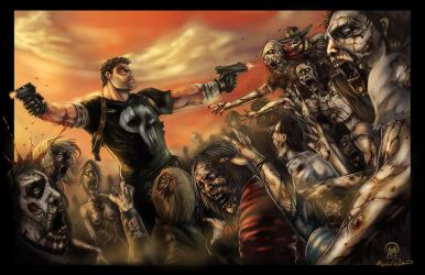 Punisher Vs The Walking Dead by SparkOut1911