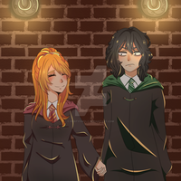 Hotaru and Shota as Lily and Snape by FeistyyWolf