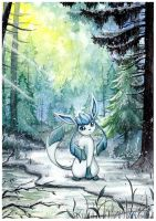 Glaceon in the forest by LizTheFox