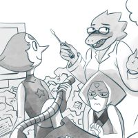 Pearl, Peridot and Alphys by Lemna