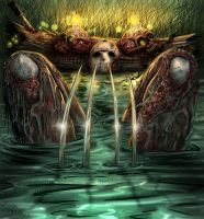 Friday the 13th Jason and Freddy  lake bath colors by DougSQ
