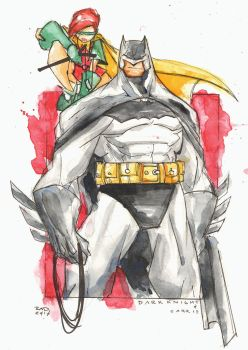Watercolor - Batman and Carrie by RobDuenas