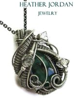 Emerald Wire-Wrapped Pendant with Herkimer Diamond by HeatherJordanJewelry