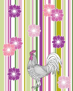 White Cockerel And Flowers by TootieFalootie