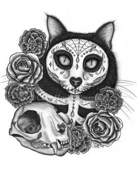Day of the Dead Cat Skull by tigerpixieart