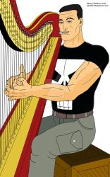 Steve Dillon's Punisher and his harp by OwossoHarpist