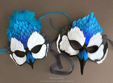 Two Blue Jay Leather Masks by windfalcon