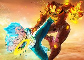 Vegeta vs Iron Man by HonoluluJoe
