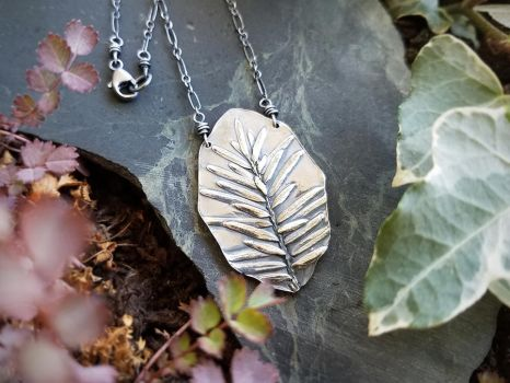 Tsuga - Hemlock Tree Frond - Fine Silver Necklace by QuintessentialArts
