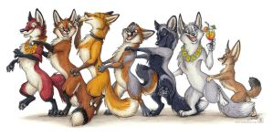 Foxes travel in conga lines by TaniDaReal