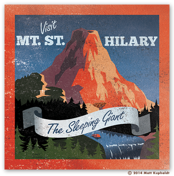 Travel sticker: Mt. St. Hilary by MattDrawsRobots