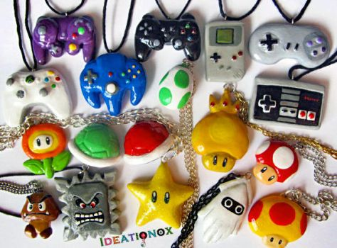 Gamer - Nintendo - Mario Necklaces by Ideationox